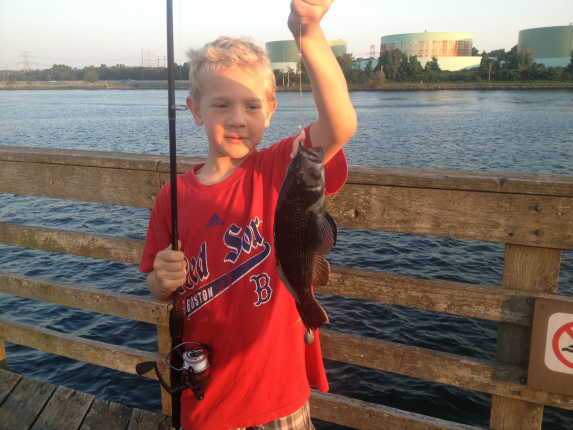 New saltwater fisherman Kyle Connors caught this small sea bass while fishing the Canal with me a couple weeks ago.