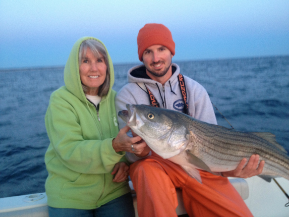 August full moon striper with mom and dad