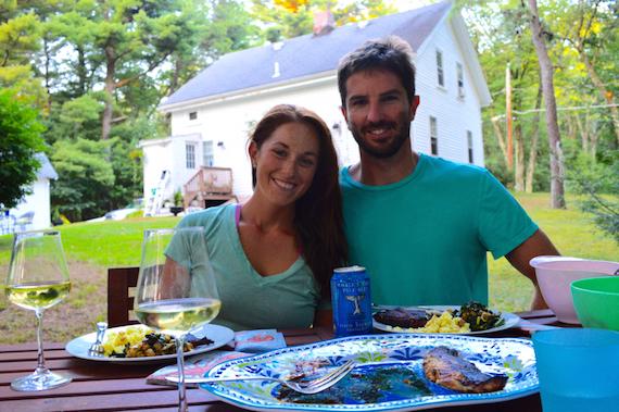 lauren and i dinner backyard