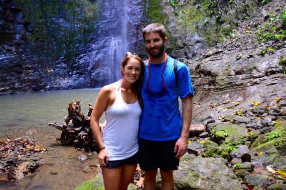 man woman couple at costa rica waterfall