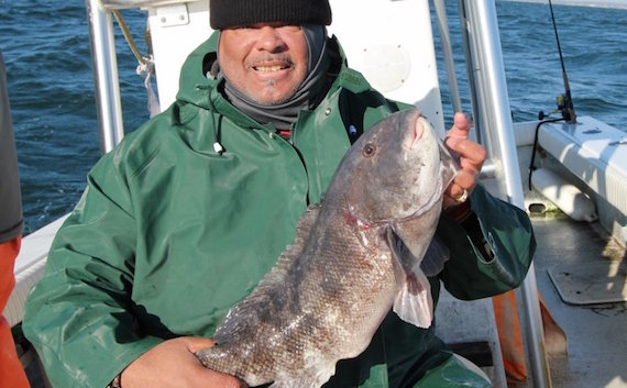 James with the fish of the day - a tautog which weighed a hair over 8 pounds.