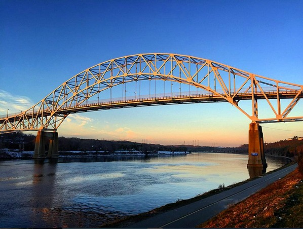 Sagamore Bridge sunrise cape cod canal