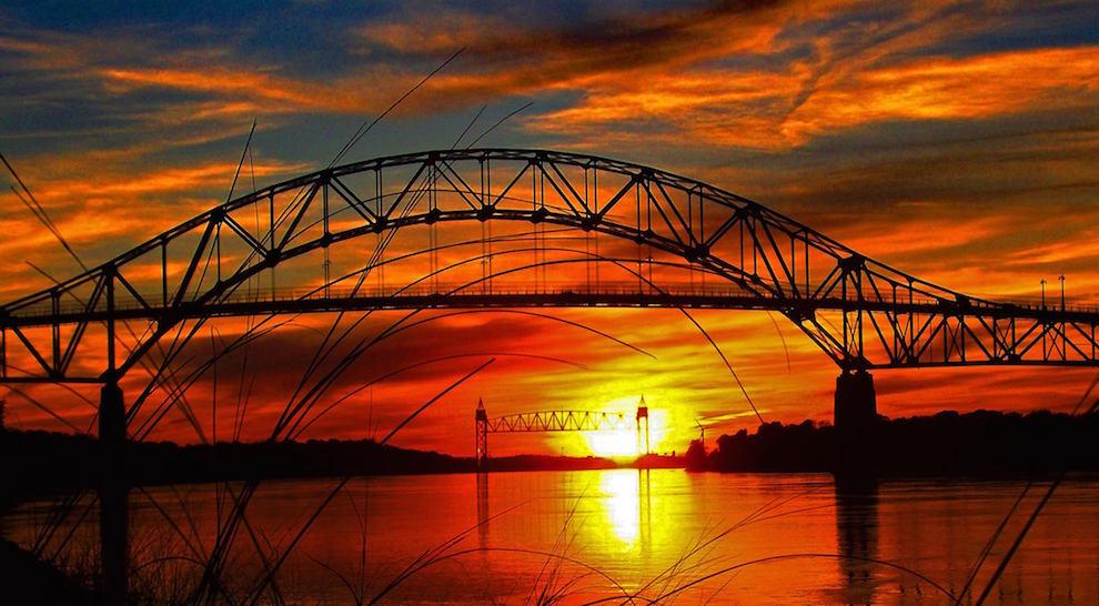 Sagamore Bridge sunrise cape cod canal